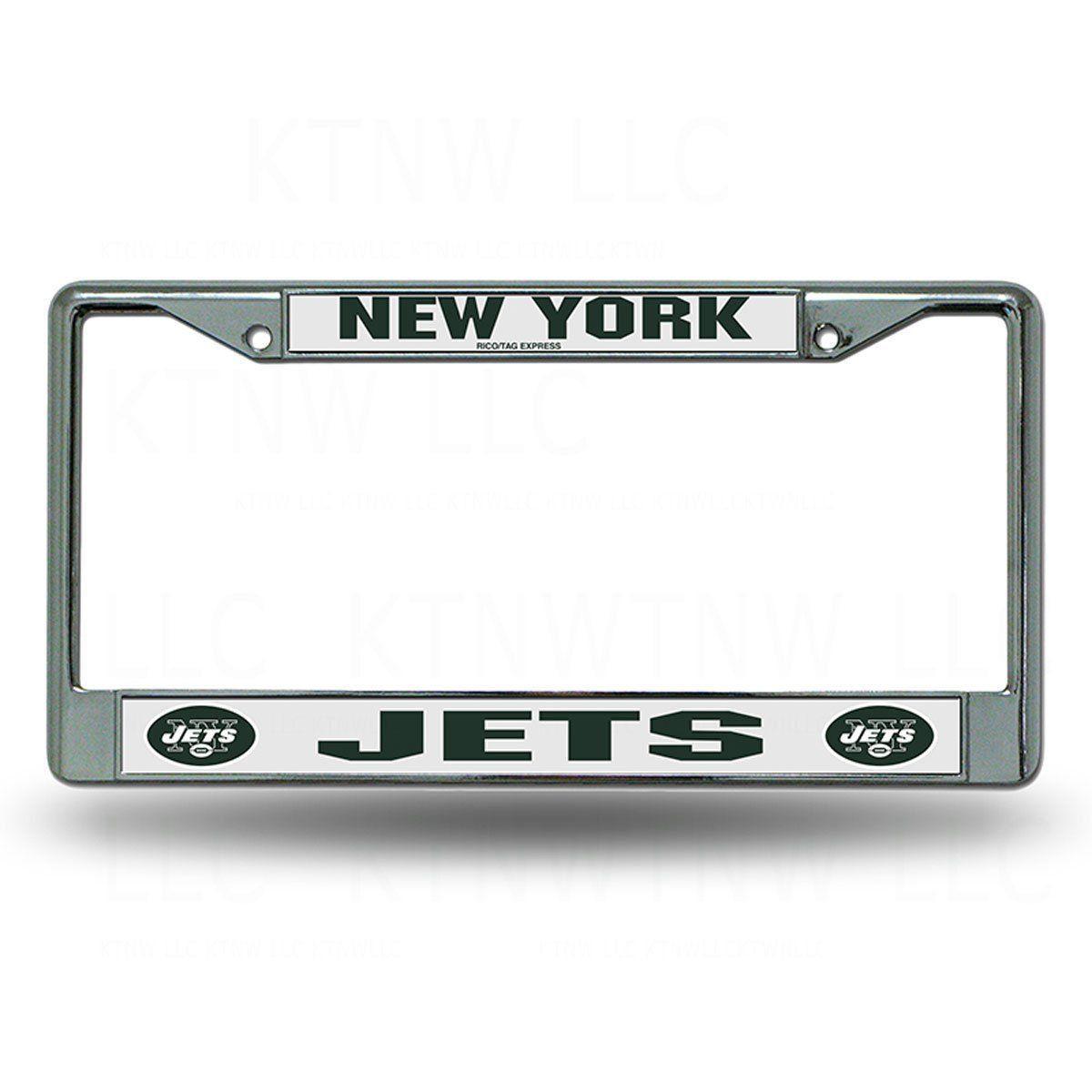 NEW YORK JETS CAR AUTO CHROME METAL LICENSE PLATE TAG FRAME NFL FOOTBALL