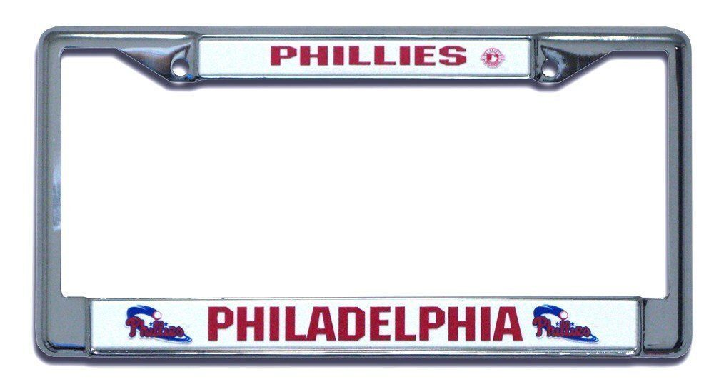 PHILADELPHIA PHILLIES CAR AUTO CHROME METAL LICENSE PLATE FRAME MLB BASEBALL