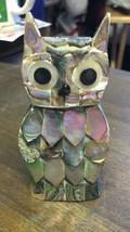 """HAND MADE FIGURINE 4"""" OWL ABALONE SHELL - $14.00"""