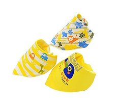 3Pcs Adjustable Soft Baby Neckerchief/Saliva Towel,Baby's Gift,Yellow