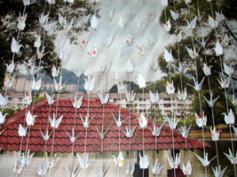 Origami Cranes Garlands White And Pattern Print Set Of 100 String - $300.00