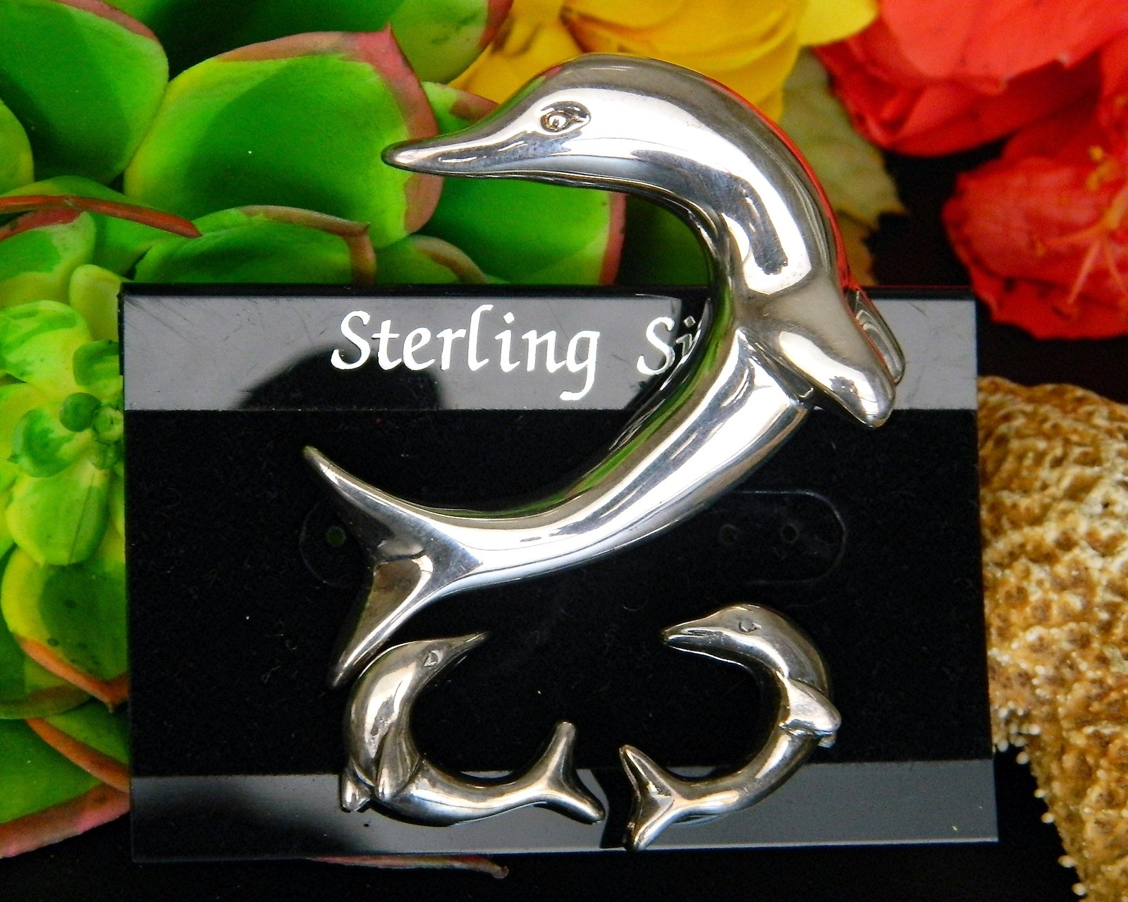 Dolphin Porpoise Brooch Pin Earrings Set Sterling Silver NWF Airess