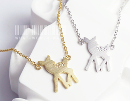Bambi necklace, deer necklace, animal jewelry, christmas gift, girls jew... - $8.90