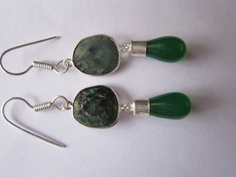 2 PCS EMERALD & GREEN ONYX STONE SILVER PLATED EARRINGS READY TO WEAR - $12.34
