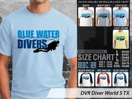 T Shirt Blue Water Divers Theme Many Color  - $9.99+