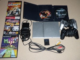 Sony Playstation 2 (PS2) Console + 2 Controllers + 5 Games + Memory Card & Cords - $93.49