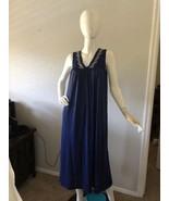 Vanity Fair Navy Blue Sleeveless Nightgown Size S Vintage Nylon Made in USA - $16.82