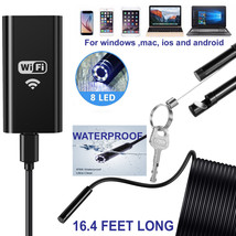 5M 8LED Wireless Endoscope WiFi Borescope Inspection Camera for iPhone Android - $19.99