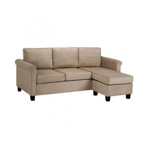 Microfiber Sectional Sofa Couch Modern Small Spaces Beige