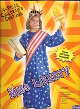 MISS LIBERY STATUE COSTUME CHILDS SIZE SMALL 4/6 - $29.00
