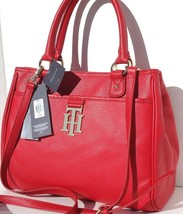 New Rare Bright Red Gold Tones Genuine Leather [Tommy Hilfiger] Satchel Handbag  - $148.55