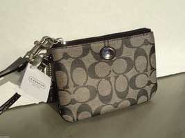 NEW! Black COACH Signature Style, Key Fob, Small Wristet-Cosmetic Bag F5... - $60.66