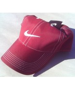 NEW! RARE Bordeaux-White NIKE Men-Women's Golf Hat Runner Swoosh by NIKEGOLF - £28.20 GBP
