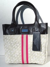NEW! Ivory-Brown [TOMMY HILFIGER] Shoulder Tote Travel Handbag Small Tom... - $74.69