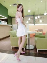 591F006 Sexy elegant strap halter blouse with big wing dress,free size, white - $18.80