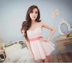 591F014 Sexy elegant low-cut bust blouse w spots,free size, pink - $18.80