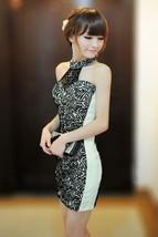 591F010 Sexy elegant lace & cotton dress, neck halter,free size, white - $18.80