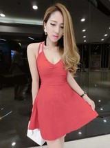 591F007 Sexy elegant straps halter blouse with big wing dress,free size, red - $18.80