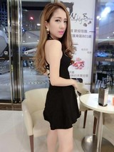 591F007 Sexy elegant straps halter blouse with big wing dress,free size, black - $18.80