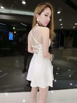 591F007 Sexy elegant straps halter blouse with big wing dress,free size, white - $18.80