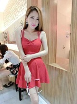 591F006 Sexy elegant strap halter blouse with big wing dress,free size,red - $18.80