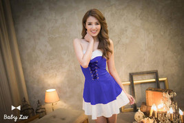 591F016 Sexy sweet blouse with lace up front,free size, blue - $18.80