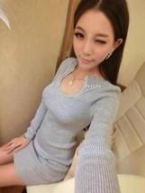 591F033 Sexy elegant long sleeve & dress,free size, grey - $18.80