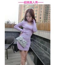 591F033 Sexy elegant long sleeve & dress,free size, violet - $18.80