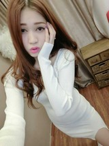 591F032 Sexy sweet long sleeve & dress,,free size, white - $18.80