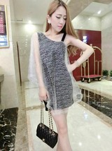 591F029 Sexy elegant a-line dress with mesh,free size, silver - $18.80