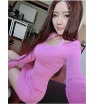 591F033 Sexy elegant long sleeve & dress,free size, pink - $18.80