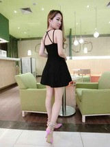 591F046 Sexy sweet strappy tunic blouse w double straps,free size, black - $18.80