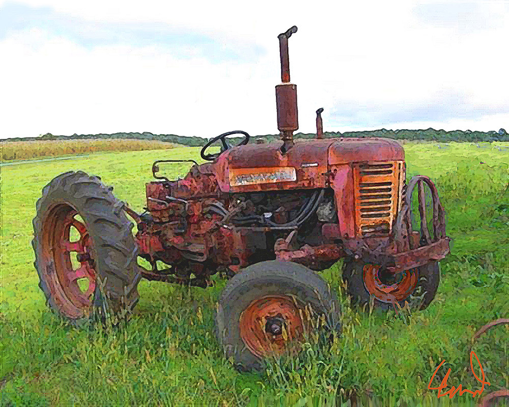 "OLD FARM TRACTOR ""Rusty Deere"" Photo Painting Print - $35.32"