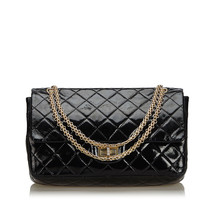 Pre-Loved Chanel Black Reissue 227 Quilted Patent Leather Double Flap Ba... - $2,296.59