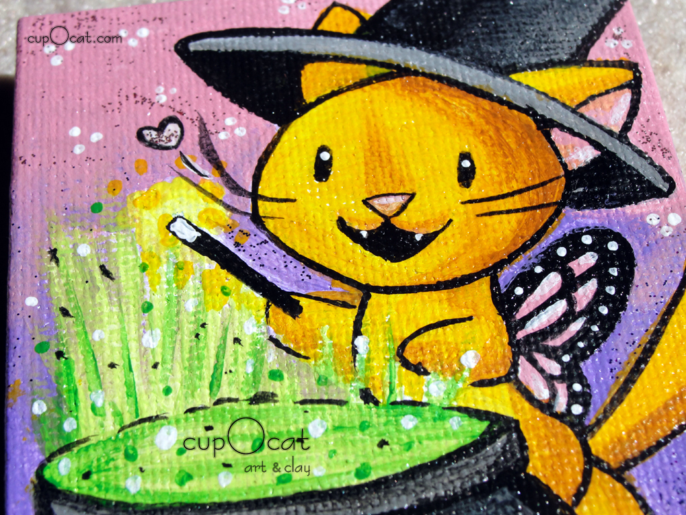 A Little Magic - A witchy orange kitty and her cauldron (Mini painting w/easel)