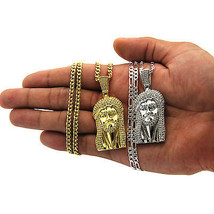 14K Gold Plated Mini Micro Hip Hop Iced Out Jesus Piece Chain And Pendan... - €27,71 EUR