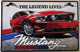Mustang-American Bred Embossed Metal Sign - $16.95