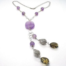 Necklace Silver 925, Amethyst round and Rectangular, Quartz Smoky Oval, Pendant image 1