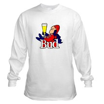 Bud Man Long Sleeve Beer T Shirt S M L XL 2XL 3XL 4XL 5XL  - $23.99+
