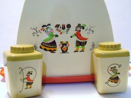 Mid - Century Austrian Motif Salt/Pepper Set w/ Napkin Holder - $15.00