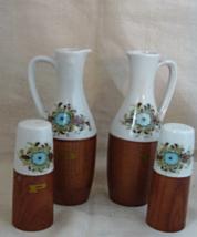 Vintage Ceramic & Wood Vinegar & Oil Cruets with Matching S & P Shakers - $15.00