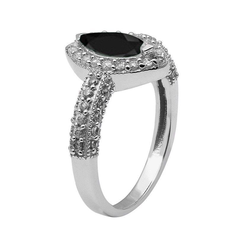 Black Onyx,White Topaz 925 Sterling Silver Ring Shine Jewelry Size-7.5 SHRI1437