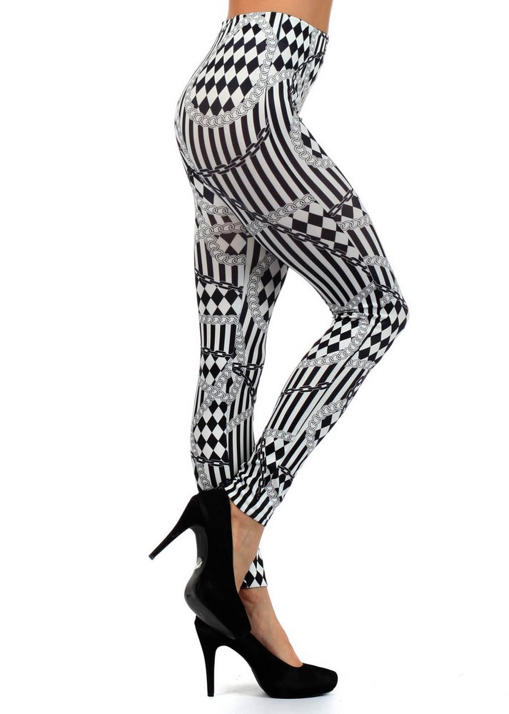 Primary image for Vertical Stripes and Checkerboard Print Leggings
