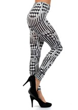 Vertical Stripes and Checkerboard Print Leggings - $13.99