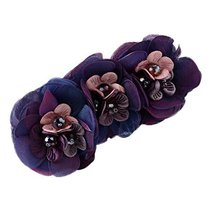 Purple Flower Ponytail Holder Cloth Hair Barrettes Banana Hair Clips Accessories