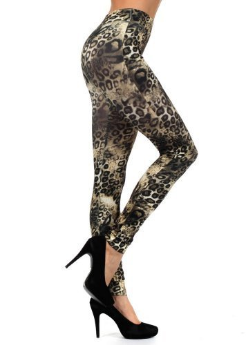 Women's Seamless Printed Leggings (One Size, Jaguar)