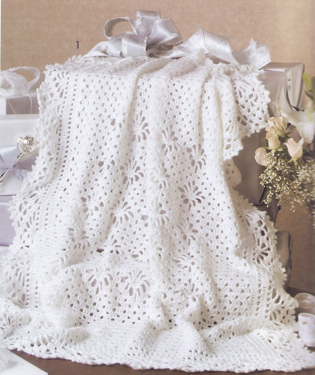 Crochet Pattern For Christening Blanket : Keepsake Baby Afghans Crochet Patterns Book 7 Designs ...