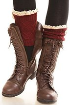 ICONOFLASH Women's Short Cable Knit Lace Trim Leg Warmer Boot Cuffs, Deep Red - $12.86