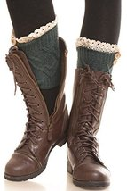 ICONOFLASH Women's Short Cable Knit Lace Trim Leg Warmer Boot Cuffs, Forest G... - $12.86
