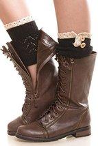 Iconoflash Women's Short Lace Trim Leg Warmer Boot Cuffs, Black - $12.86